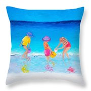 Beach Painting - Water Play  Throw Pillow
