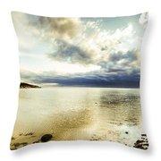 Beach Panorama Of A Sunrise Over The Sea Throw Pillow