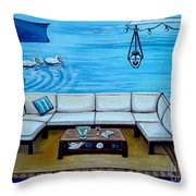 Beach Picnic Throw Pillow