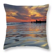 Beach Play At Dusk Throw Pillow