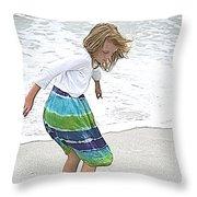 Beach Play Time Throw Pillow
