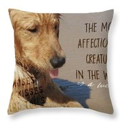 Beach Pup Quote Throw Pillow