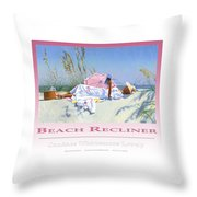 Beach Recliner Poster Throw Pillow