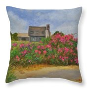 Beach Roses And Cottages Throw Pillow