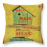 Beach Rules  Throw Pillow