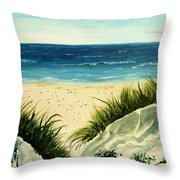 Beach Sand Dunes Acrylic Painting Throw Pillow