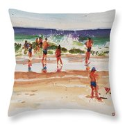 Beach Scene, Afternoon Throw Pillow