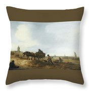 Beach Scene With Fishermen Throw Pillow