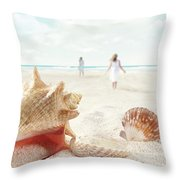 Beach Scene With People Walking And Seashells Throw Pillow by Sandra Cunningham