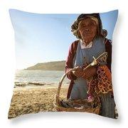 Beach Seller Throw Pillow