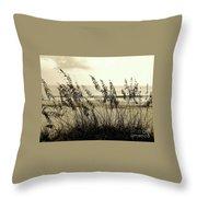 Beach - Sepia Throw Pillow