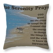 Beach Serenity Prayer Throw Pillow