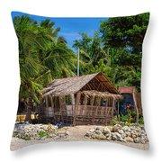Beach Side Nipa Hut Throw Pillow