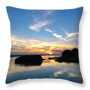 Beach Skyset On A Cornish Beach Cornwall Throw Pillow