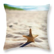 Beach Starfish Wood Texture Throw Pillow