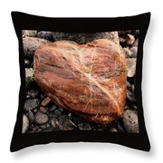 Beach Stone Heart Throw Pillow