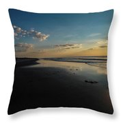 Beach Sunrise At Jekyll Island  Throw Pillow by Louis Dallara