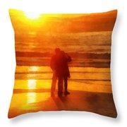 Beach Sunrise Love Throw Pillow