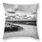 Beach Sunset Bw Throw Pillow