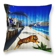 Beach Tiger  Throw Pillow