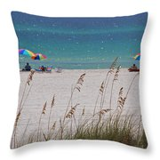 Beach Time At The Gulf - Before The Oil Spill Disaster Throw Pillow