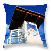 Beach Tower In Blue Sky Throw Pillow