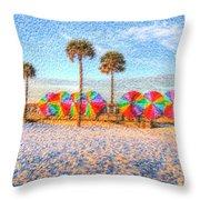 Beach Umbrella Lineup Throw Pillow by Michael Garyet