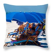 Beach Umbrellas By Darrell Hutto Throw Pillow