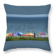 Beach Umbrellas Throw Pillow