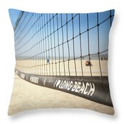 Beach Volleyball Net On The Sand At Long Beach, Ca Throw Pillow