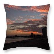 Beach Walk At Sunset Throw Pillow