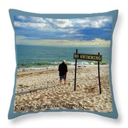 Beach Walking Throw Pillow