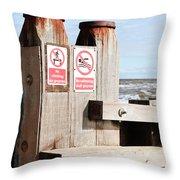 Beach Warning Throw Pillow
