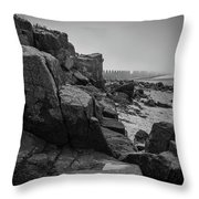 Beach With Anti-pylons Throw Pillow