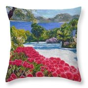 Beach With Flowers Throw Pillow