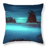 Beach With Sea Stacks In Moody Lighting Throw Pillow