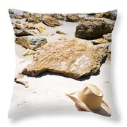 Beach Woman Throw Pillow by Jorgo Photography - Wall Art Gallery
