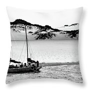 Beached At Coorong Bw Throw Pillow
