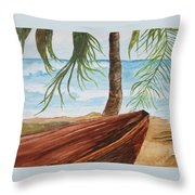 Beached Boat Throw Pillow