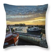 Beached Boats On Trocadero Pipe Puerto Real Cadiz Spain Throw Pillow