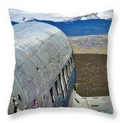 Beached Plane Wreckage - Iceland Throw Pillow