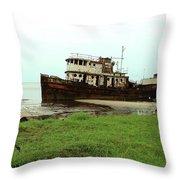 Beached Ship Throw Pillow