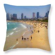 Beachfront In Tel Aviv  Throw Pillow
