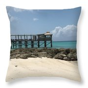 Beachfront Pier Throw Pillow