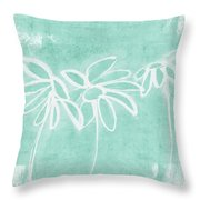 Beachglass And White Flowers 3- Art By Linda Woods Throw Pillow