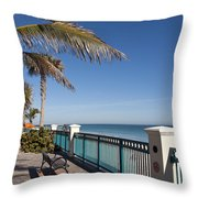 Beachland Boulevard At Vero Beach In Florida Throw Pillow