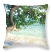 Beachscape Tree Throw Pillow