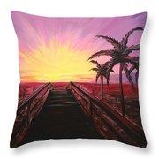 Beachside Sunset Throw Pillow