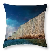 Beachy Head Lighthouse And Cliffs Throw Pillow