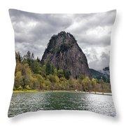 Beacon Rock At Columbia River Gorge Throw Pillow